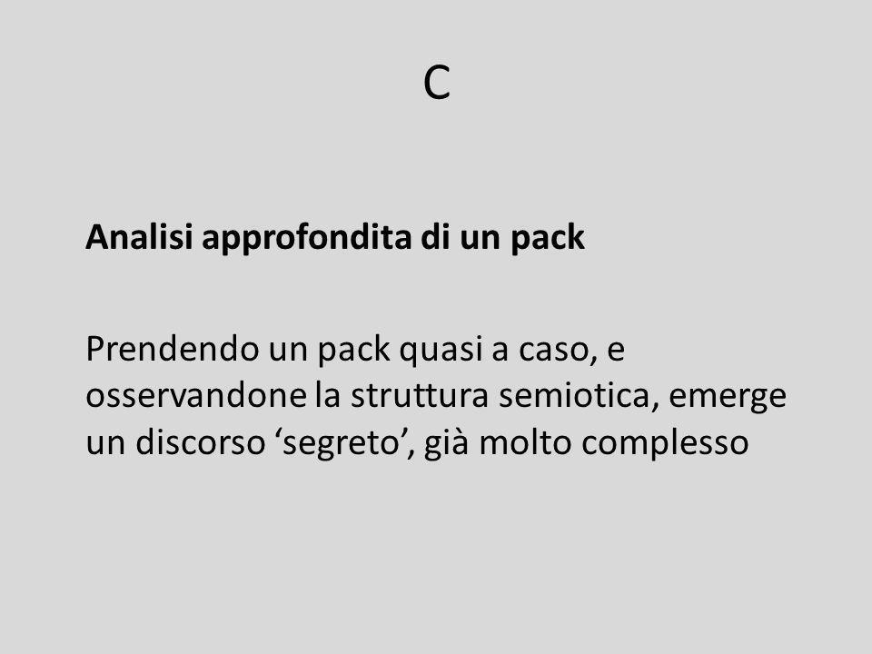C Analisi approfondita di un pack Prendendo un pack quasi a caso, e osservandone la struttura semiotica, emerge un discorso segreto, già molto comples
