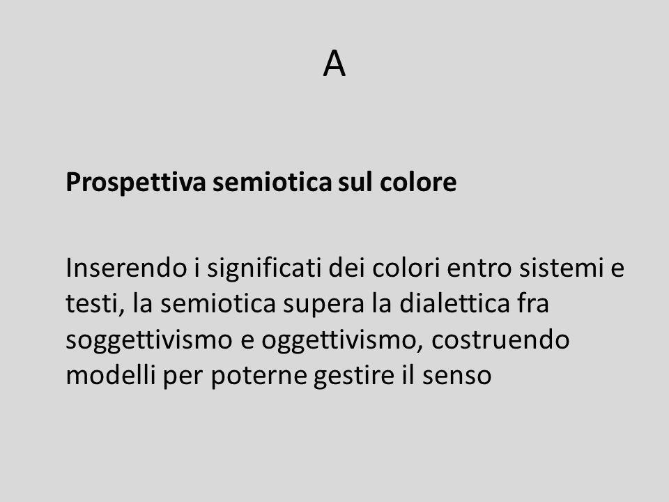 Soluzione semiotico-testuale il colore è soggettivo se viene considerato isolatamente, estrapolato dal suo contesto: significa troppo e ognuno ci vede quel che vuole Il colore è oggettivo se sta – in un determinato sistema culturale – in un preciso testo che quel sistema riprende, usa e spesso riadatta ai propri scopi.