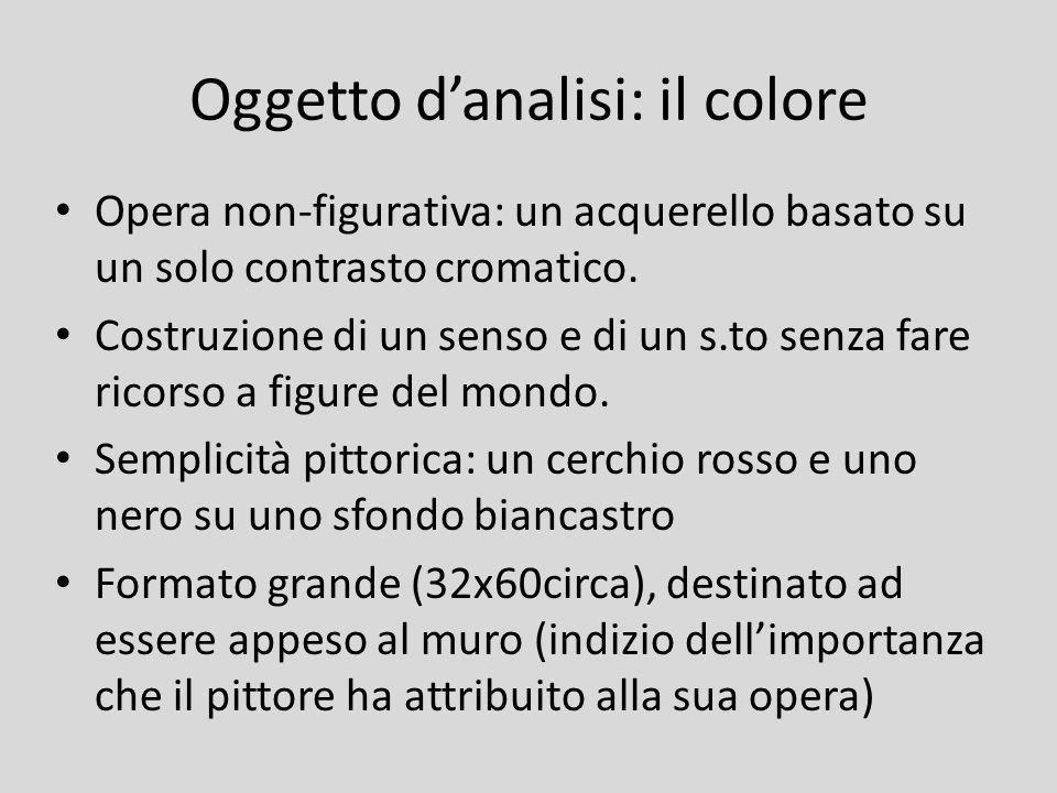 Oggetto danalisi: il colore Opera non-figurativa: un acquerello basato su un solo contrasto cromatico. Costruzione di un senso e di un s.to senza fare