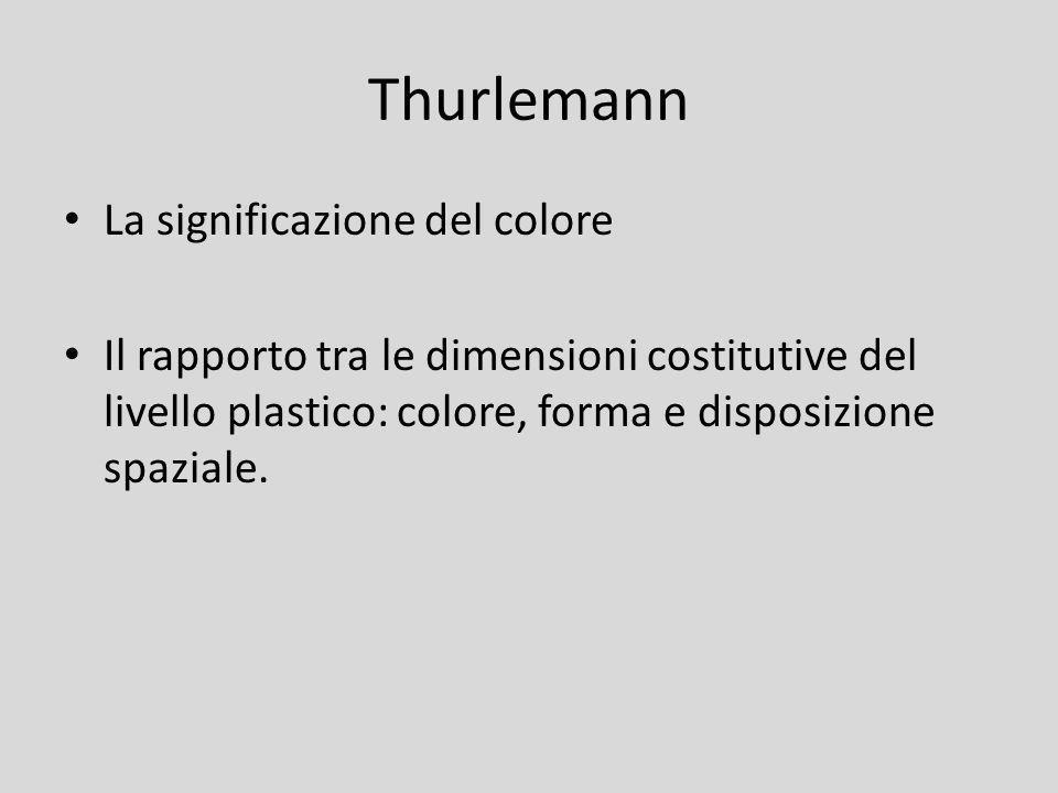 Thurlemann La significazione del colore Il rapporto tra le dimensioni costitutive del livello plastico: colore, forma e disposizione spaziale.