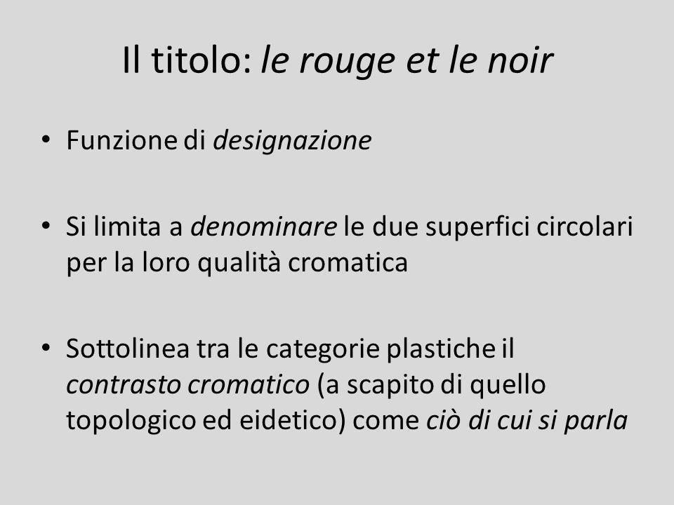 Il titolo: le rouge et le noir Funzione di designazione Si limita a denominare le due superfici circolari per la loro qualità cromatica Sottolinea tra