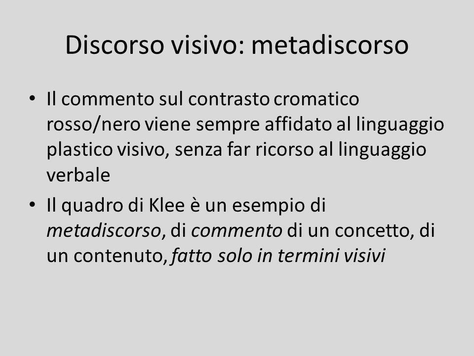 Discorso visivo: metadiscorso Il commento sul contrasto cromatico rosso/nero viene sempre affidato al linguaggio plastico visivo, senza far ricorso al