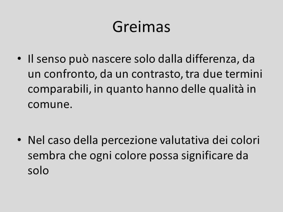 Greimas Il senso può nascere solo dalla differenza, da un confronto, da un contrasto, tra due termini comparabili, in quanto hanno delle qualità in co