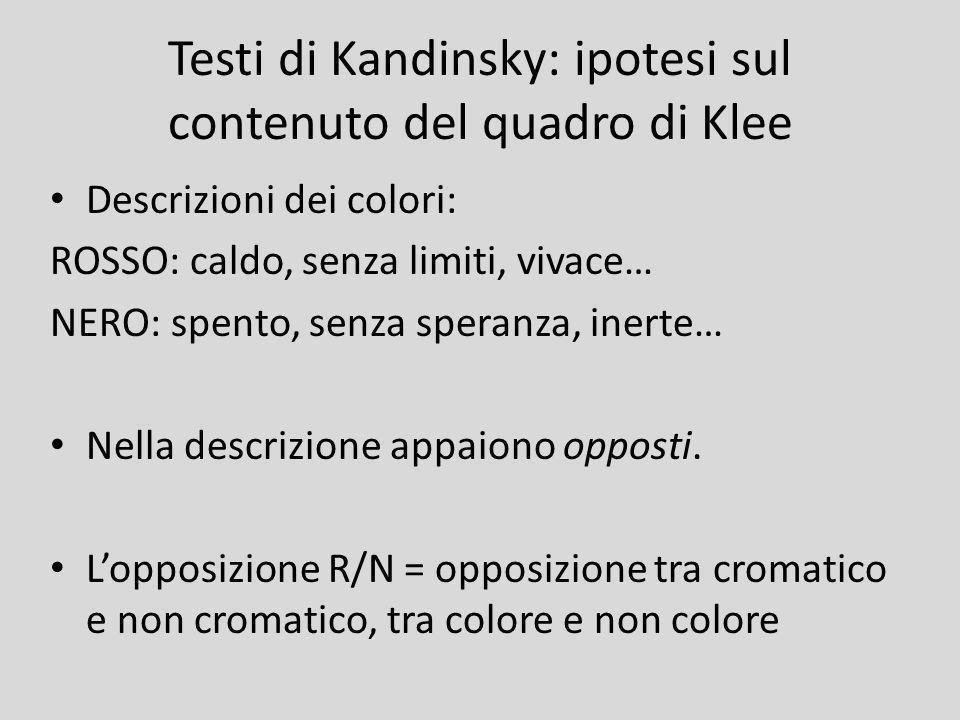 Testi di Kandinsky: ipotesi sul contenuto del quadro di Klee Descrizioni dei colori: ROSSO: caldo, senza limiti, vivace… NERO: spento, senza speranza,