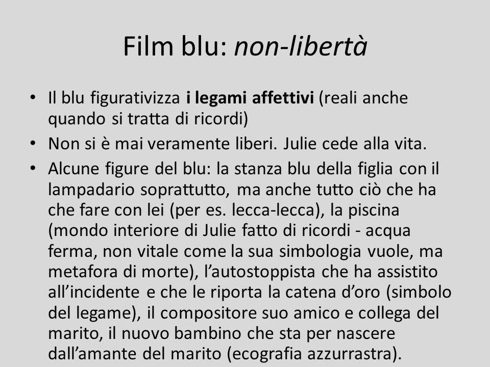 Film blu: non-libertà Il blu figurativizza i legami affettivi (reali anche quando si tratta di ricordi) Non si è mai veramente liberi. Julie cede alla