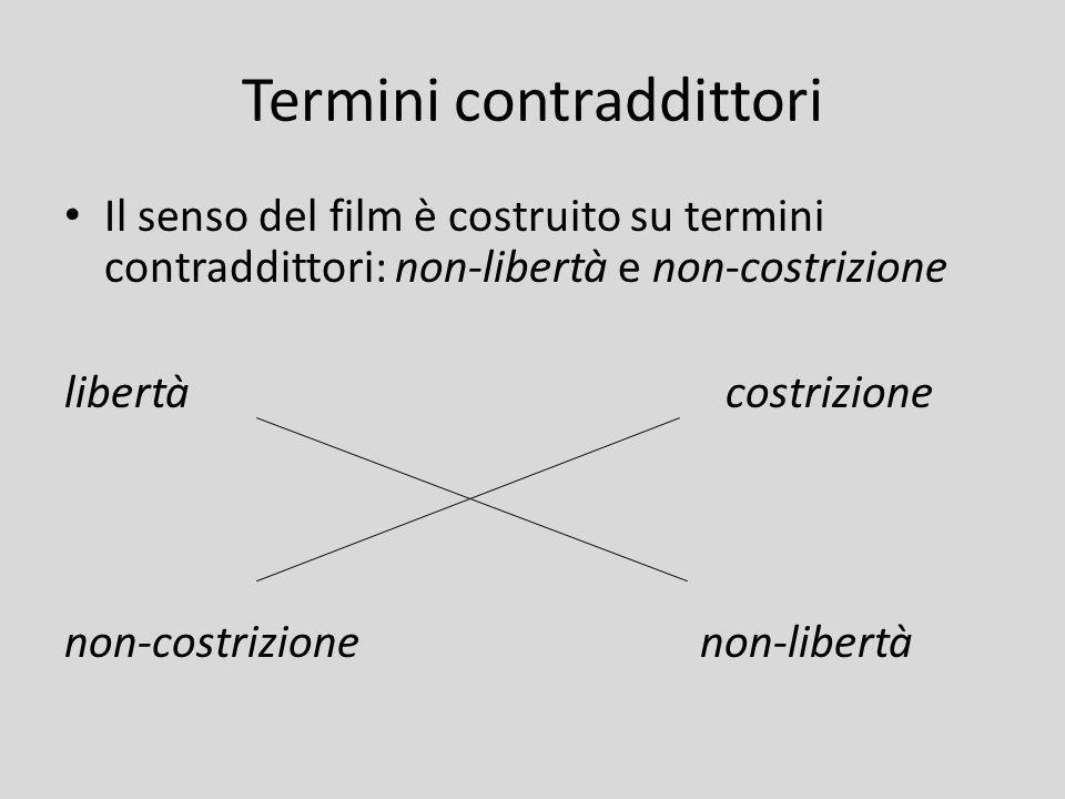 Termini contraddittori Il senso del film è costruito su termini contraddittori: non-libertà e non-costrizione libertà costrizione non-costrizione non-
