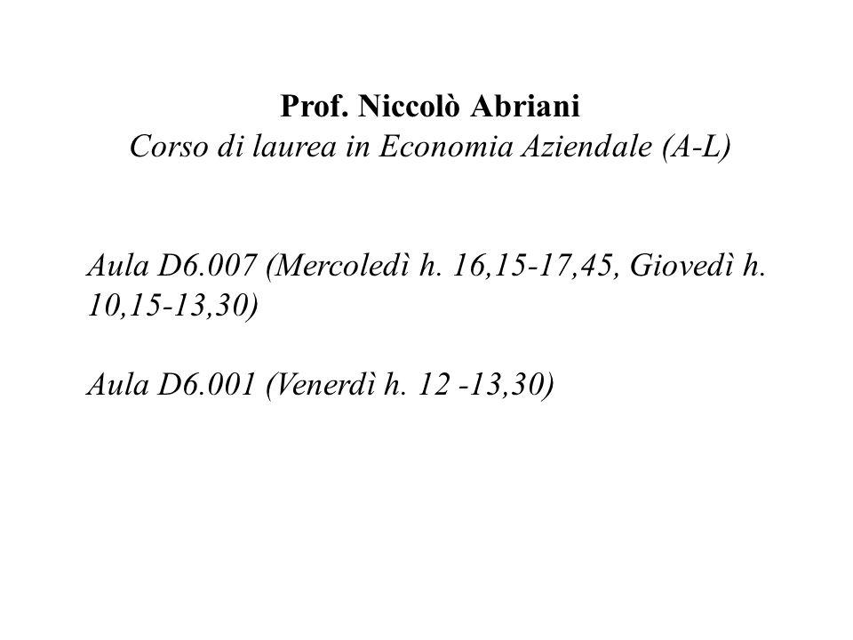 Prof. Niccolò Abriani Corso di laurea in Economia Aziendale (A-L) Aula D6.007 (Mercoledì h. 16,15-17,45, Giovedì h. 10,15-13,30) Aula D6.001 (Venerdì