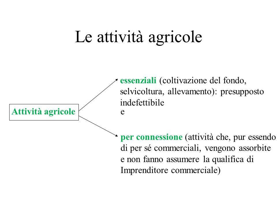 Le attività agricole Attività agricole essenziali (coltivazione del fondo, selvicoltura, allevamento): presupposto indefettibile per connessione (atti