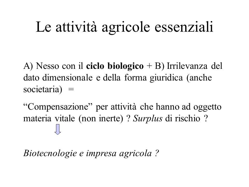 Le attività agricole essenziali A) Nesso con il ciclo biologico + B) Irrilevanza del dato dimensionale e della forma giuridica (anche societaria) = Co