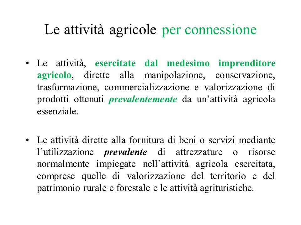Le attività agricole per connessione Le attività, esercitate dal medesimo imprenditore agricolo, dirette alla manipolazione, conservazione, trasformaz