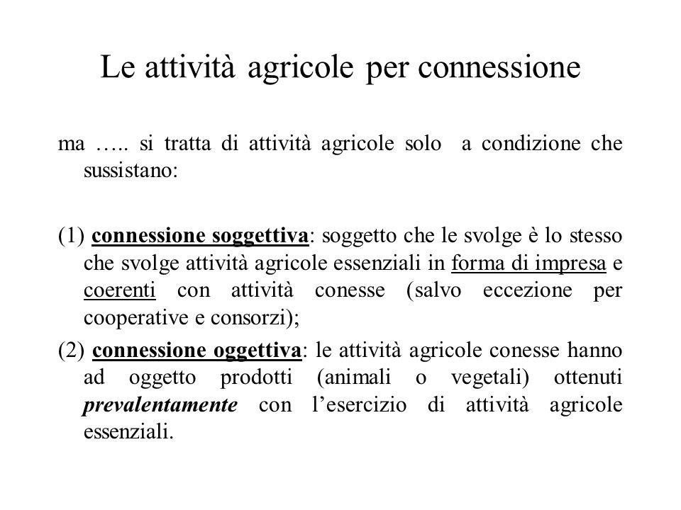 Le attività agricole per connessione ma ….. si tratta di attività agricole solo a condizione che sussistano: (1) connessione soggettiva: soggetto che