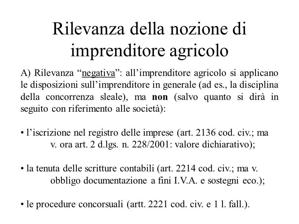 Rilevanza della nozione di imprenditore agricolo A) Rilevanza negativa: allimprenditore agricolo si applicano le disposizioni sullimprenditore in gene
