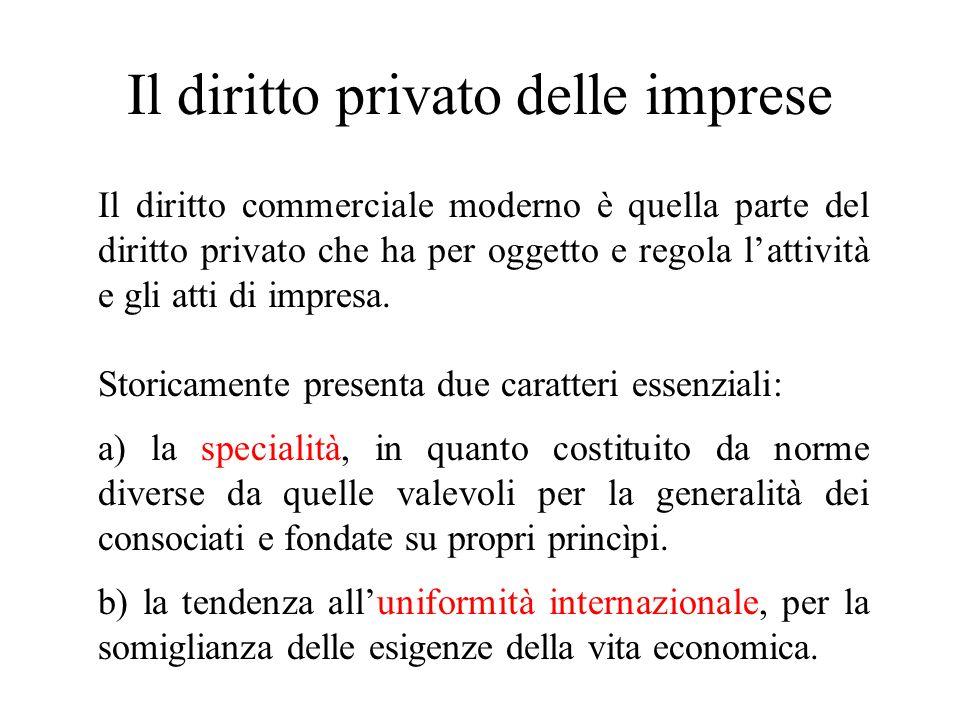 Il diritto privato delle imprese Il diritto commerciale moderno è quella parte del diritto privato che ha per oggetto e regola lattività e gli atti di