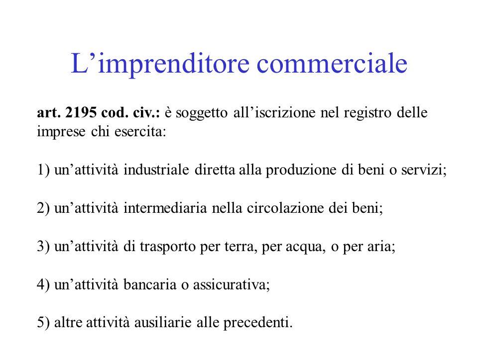 Limprenditore commerciale art. 2195 cod. civ.: è soggetto alliscrizione nel registro delle imprese chi esercita: 1) unattività industriale diretta all