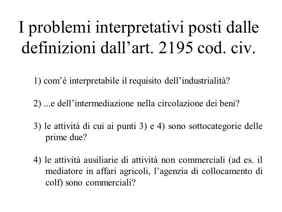 I problemi interpretativi posti dalle definizioni dallart. 2195 cod. civ. 1) comè interpretabile il requisito dellindustrialità? 2)...e dellintermedia