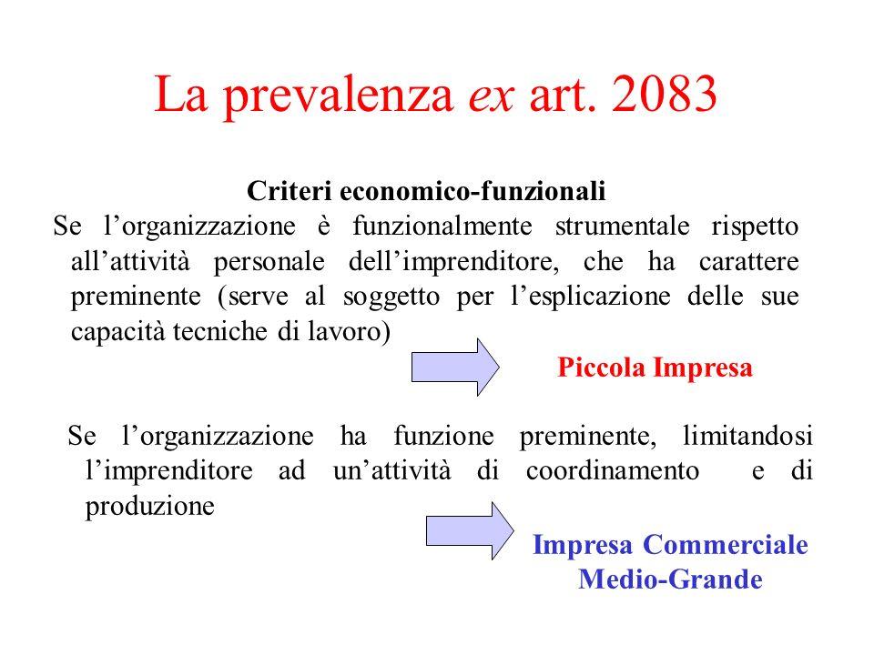 La prevalenza ex art. 2083 Criteri economico-funzionali Se lorganizzazione è funzionalmente strumentale rispetto allattività personale dellimprenditor