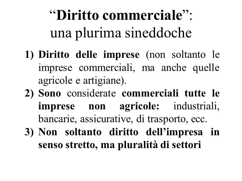 Diritto commerciale: una plurima sineddoche 1)Diritto delle imprese (non soltanto le imprese commerciali, ma anche quelle agricole e artigiane). 2)Son