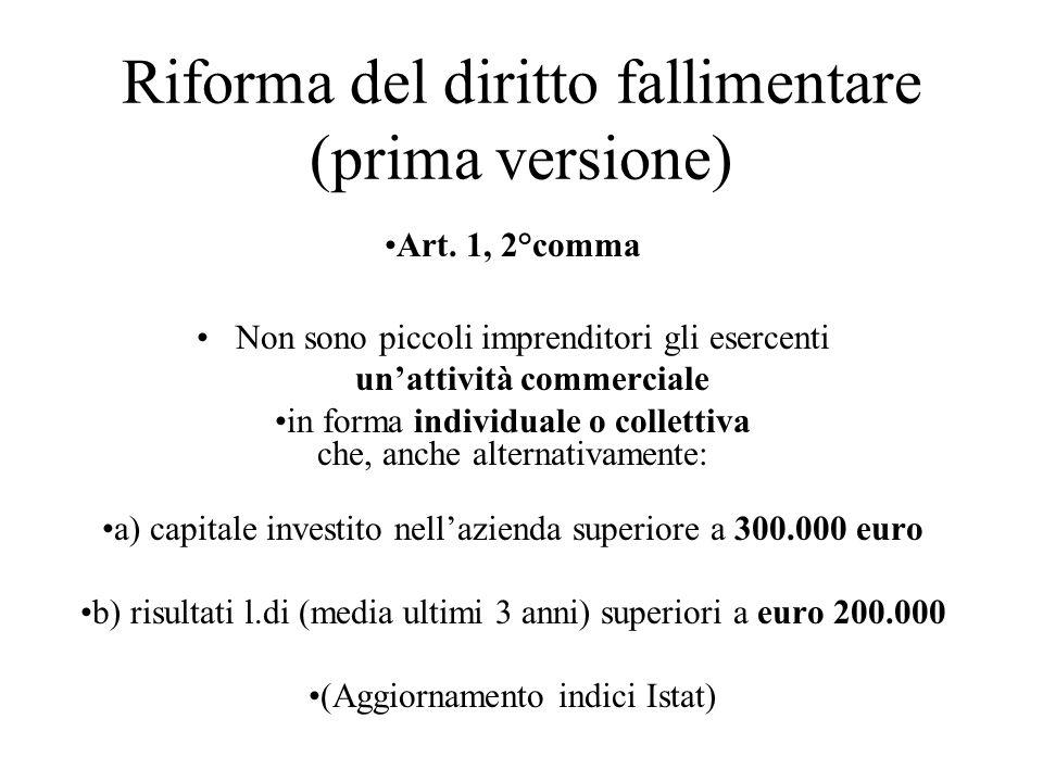 Riforma del diritto fallimentare (prima versione) Art. 1, 2°comma Non sono piccoli imprenditori gli esercenti unattività commerciale in forma individu