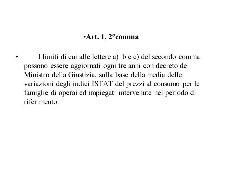 Art. 1, 2°comma I limiti di cui alle lettere a) b e c) del secondo comma possono essere aggiornati ogni tre anni con decreto del Ministro della Giusti