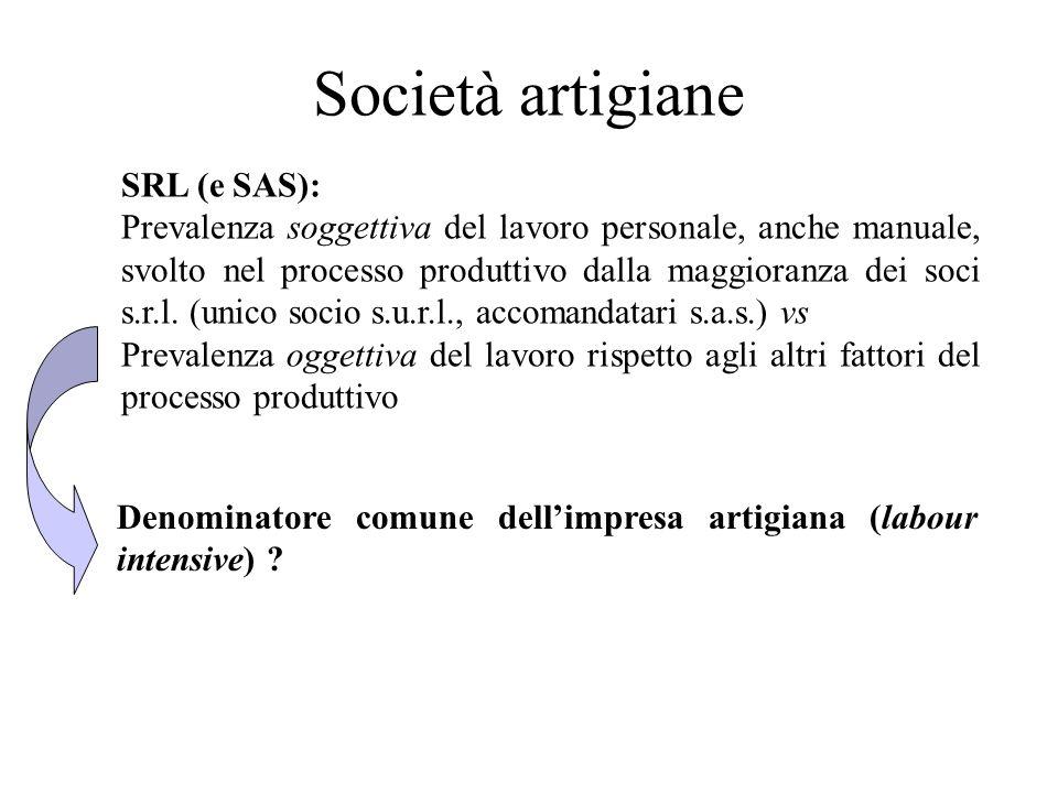 Società artigiane SRL (e SAS): Prevalenza soggettiva del lavoro personale, anche manuale, svolto nel processo produttivo dalla maggioranza dei soci s.