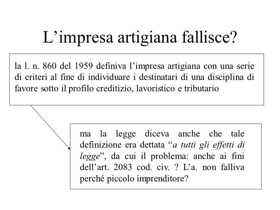 Limpresa artigiana fallisce? la l. n. 860 del 1959 definiva limpresa artigiana con una serie di criteri al fine di individuare i destinatari di una di