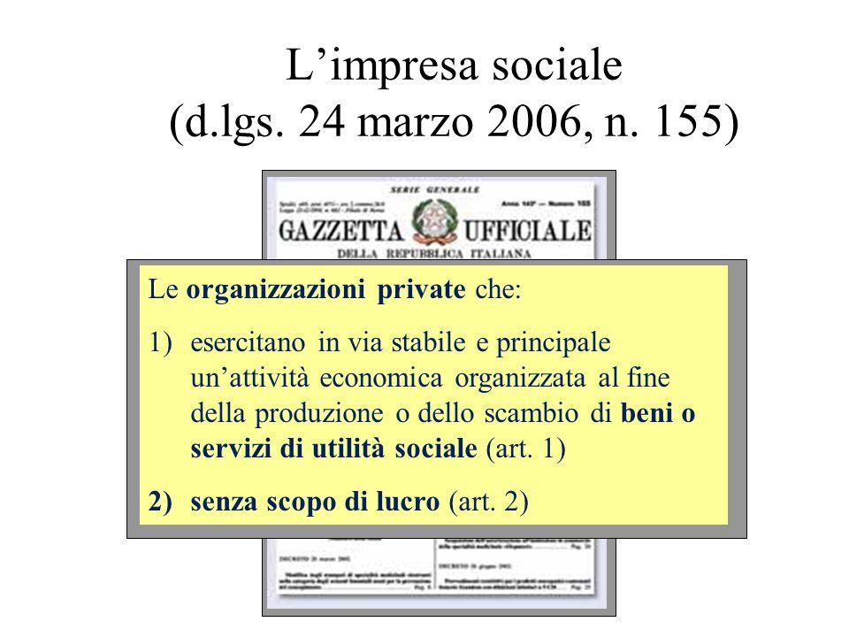 Limpresa sociale (d.lgs. 24 marzo 2006, n. 155) Le organizzazioni private che: 1)esercitano in via stabile e principale unattività economica organizza