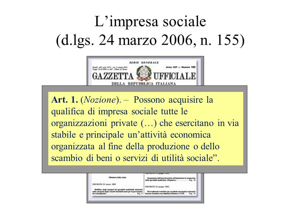 Limpresa sociale (d.lgs. 24 marzo 2006, n. 155) Art. 1. (Nozione). – Possono acquisire la qualifica di impresa sociale tutte le organizzazioni private