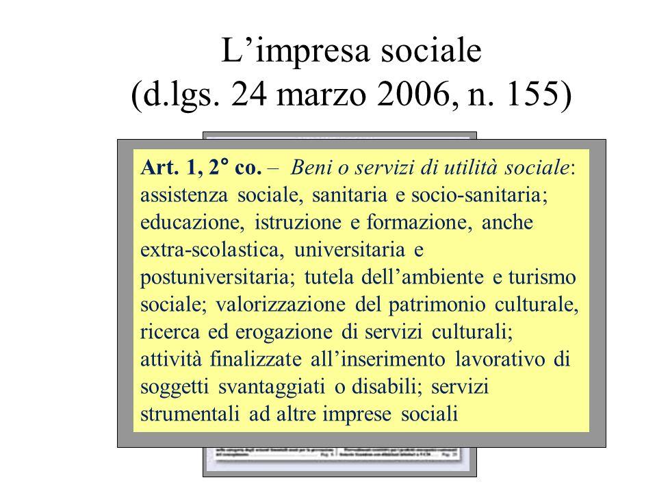 Limpresa sociale (d.lgs. 24 marzo 2006, n. 155) Art. 1, 2° co. – Beni o servizi di utilità sociale: assistenza sociale, sanitaria e socio-sanitaria; e