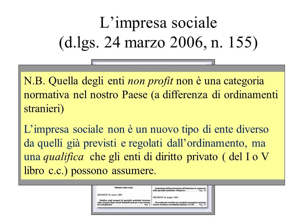 Limpresa sociale (d.lgs. 24 marzo 2006, n. 155) N.B. Quella degli enti non profit non è una categoria normativa nel nostro Paese (a differenza di ordi