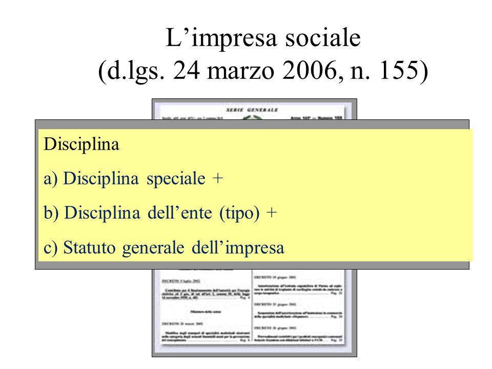 Limpresa sociale (d.lgs. 24 marzo 2006, n. 155) Disciplina a) Disciplina speciale + b) Disciplina dellente (tipo) + c) Statuto generale dellimpresa