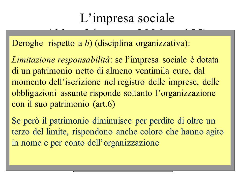 Limpresa sociale (d.lgs. 24 marzo 2006, n. 155) Deroghe rispetto a b) (disciplina organizzativa): Limitazione responsabilità: se limpresa sociale è do