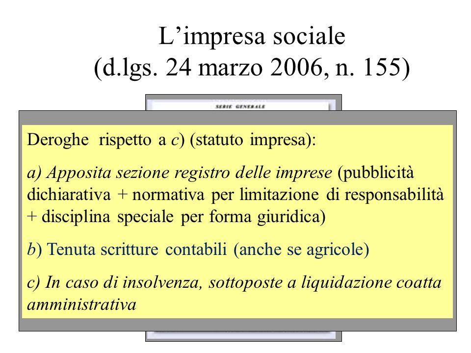 Limpresa sociale (d.lgs. 24 marzo 2006, n. 155) Deroghe rispetto a c) (statuto impresa): a) Apposita sezione registro delle imprese (pubblicità dichia