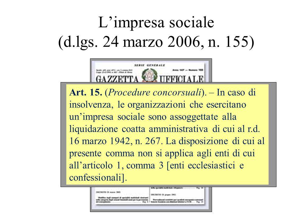 Limpresa sociale (d.lgs. 24 marzo 2006, n. 155) Art. 15. (Procedure concorsuali). – In caso di insolvenza, le organizzazioni che esercitano unimpresa