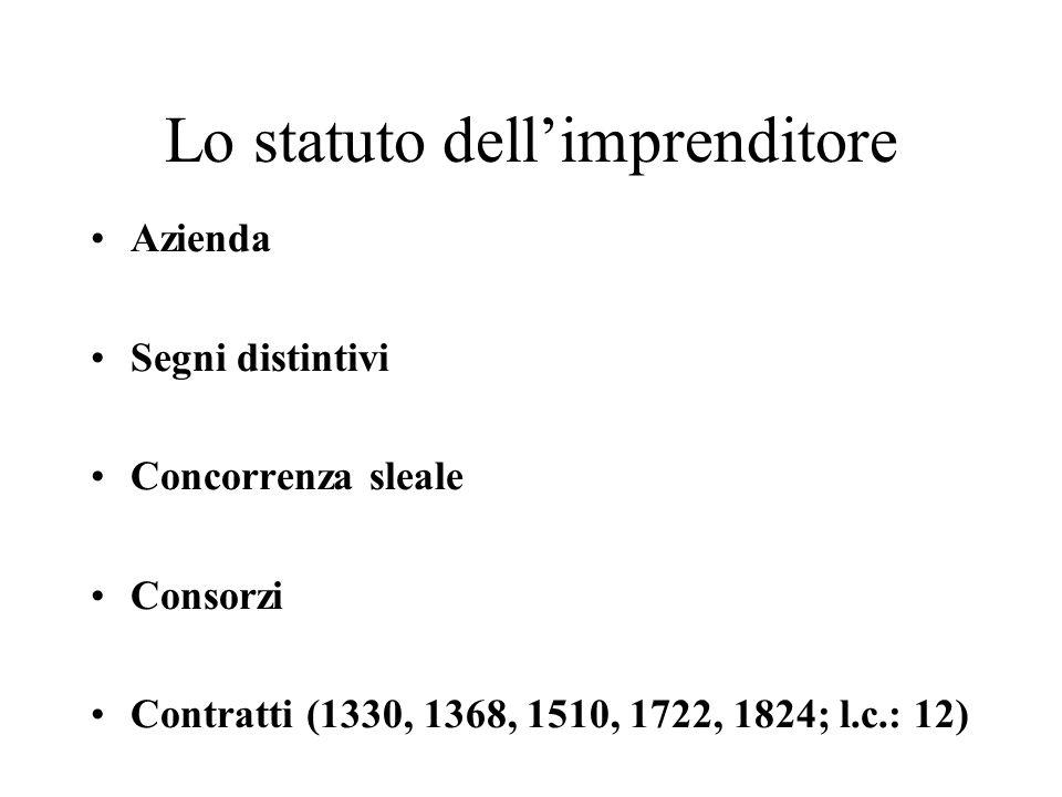 Lo statuto dellimprenditore Azienda Segni distintivi Concorrenza sleale Consorzi Contratti (1330, 1368, 1510, 1722, 1824; l.c.: 12)