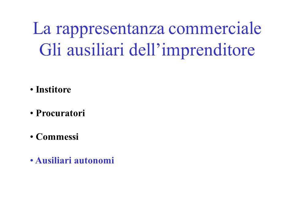 La rappresentanza commerciale Gli ausiliari dellimprenditore Institore Procuratori Commessi Ausiliari autonomi