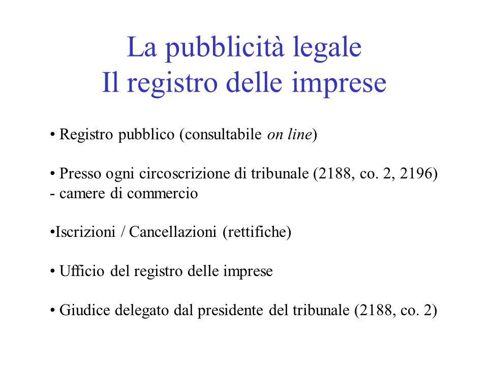 La pubblicità legale Il registro delle imprese Registro pubblico (consultabile on line) Presso ogni circoscrizione di tribunale (2188, co. 2, 2196) -