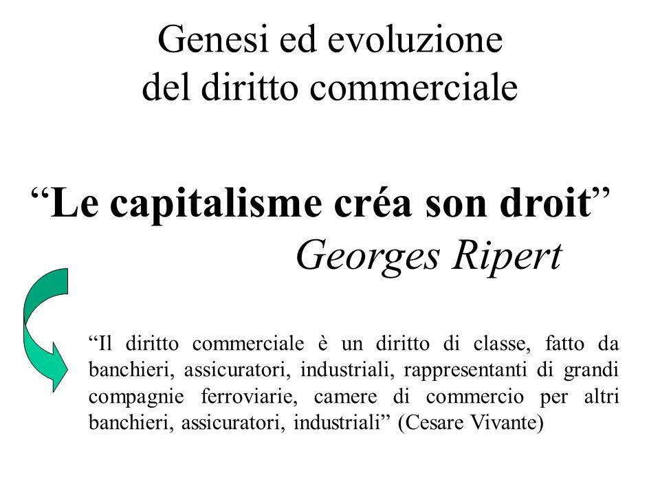 Genesi ed evoluzione del diritto commerciale Le capitalisme créa son droit Georges Ripert Il diritto commerciale è un diritto di classe, fatto da banc