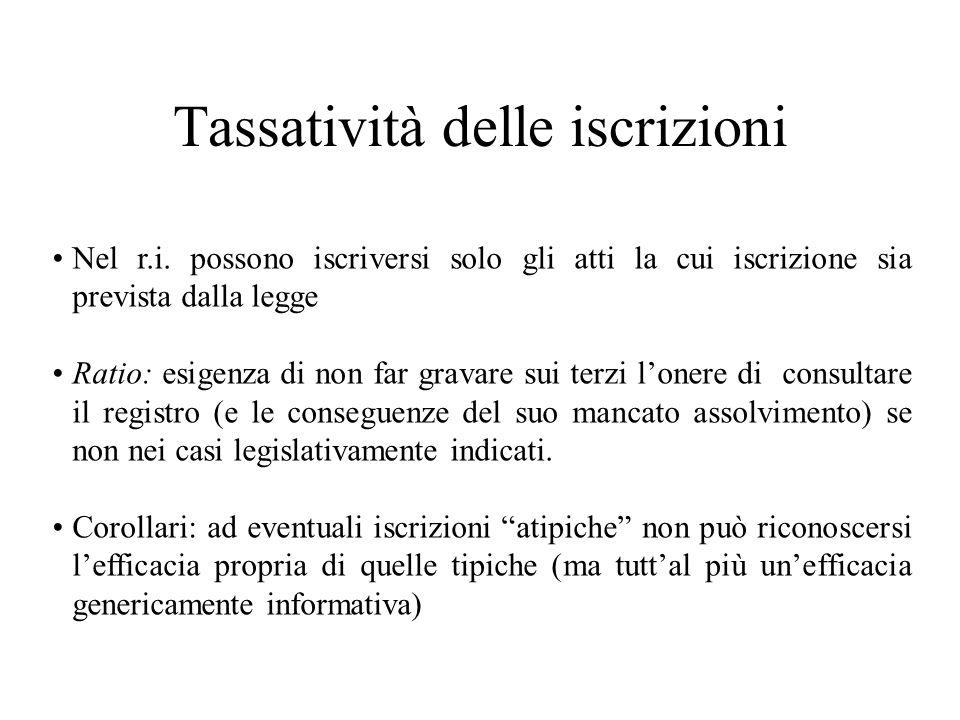 Tassatività delle iscrizioni Nel r.i. possono iscriversi solo gli atti la cui iscrizione sia prevista dalla legge Ratio: esigenza di non far gravare s