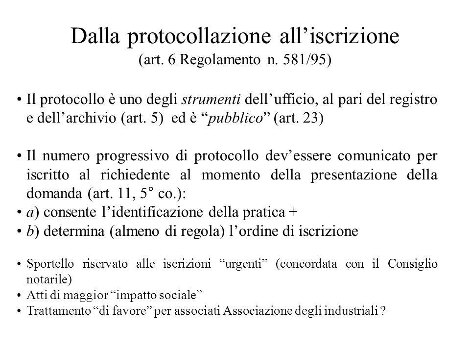 Dalla protocollazione alliscrizione (art. 6 Regolamento n. 581/95) Il protocollo è uno degli strumenti dellufficio, al pari del registro e dellarchivi