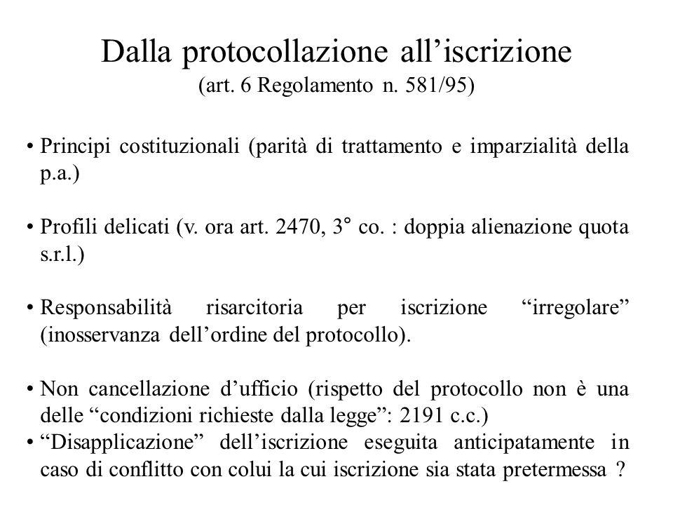 Dalla protocollazione alliscrizione (art. 6 Regolamento n. 581/95) Principi costituzionali (parità di trattamento e imparzialità della p.a.) Profili d
