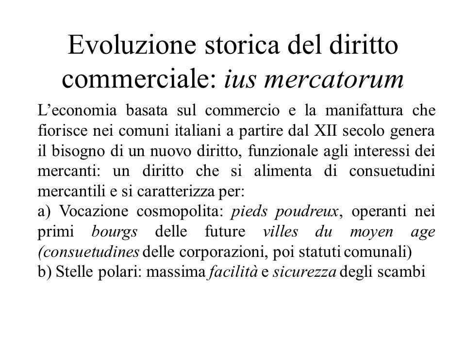 Evoluzione storica del diritto commerciale: ius mercatorum Leconomia basata sul commercio e la manifattura che fiorisce nei comuni italiani a partire
