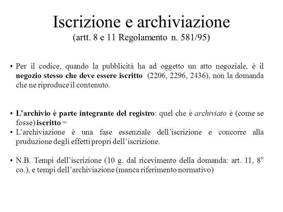 Iscrizione e archiviazione (artt. 8 e 11 Regolamento n. 581/95) Per il codice, quando la pubblicità ha ad oggetto un atto negoziale, è il negozio stes