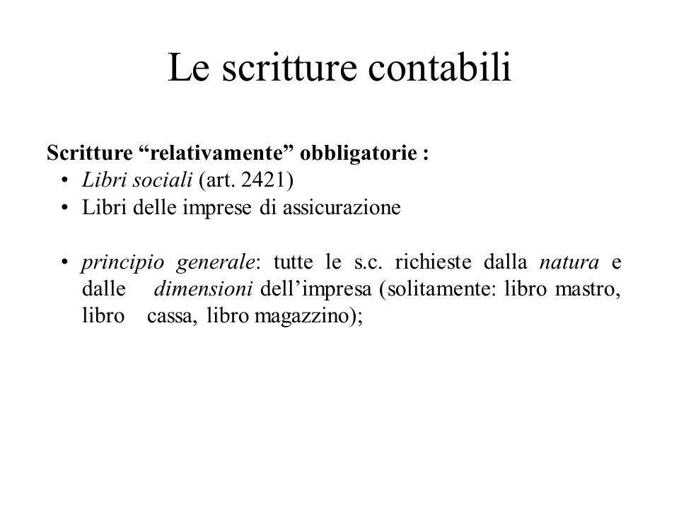 Le scritture contabili Scritture relativamente obbligatorie : Libri sociali (art. 2421) Libri delle imprese di assicurazione principio generale: tutte