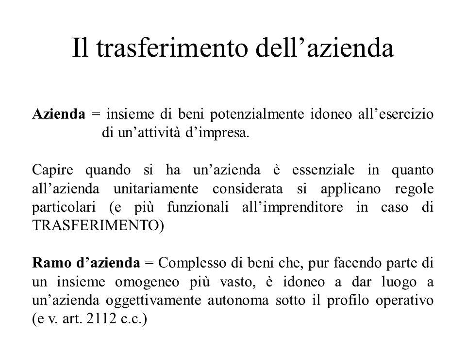 Il trasferimento dellazienda Azienda = insieme di beni potenzialmente idoneo allesercizio di unattività dimpresa. Capire quando si ha unazienda è esse