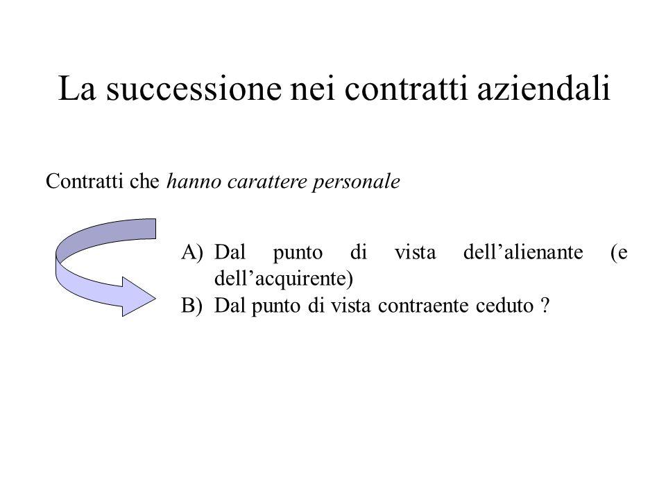 La successione nei contratti aziendali Contratti che hanno carattere personale A)Dal punto di vista dellalienante (e dellacquirente) B)Dal punto di vi