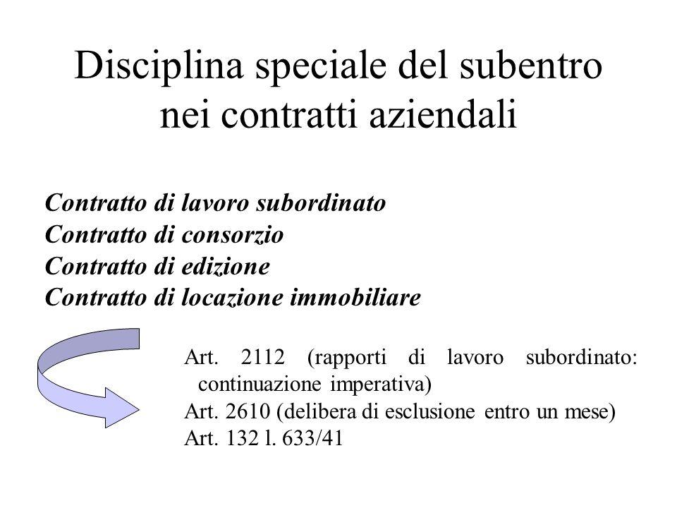 Disciplina speciale del subentro nei contratti aziendali Contratto di lavoro subordinato Contratto di consorzio Contratto di edizione Contratto di loc