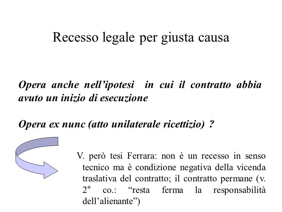 Recesso legale per giusta causa Opera anche nellipotesi in cui il contratto abbia avuto un inizio di esecuzione Opera ex nunc (atto unilaterale ricett