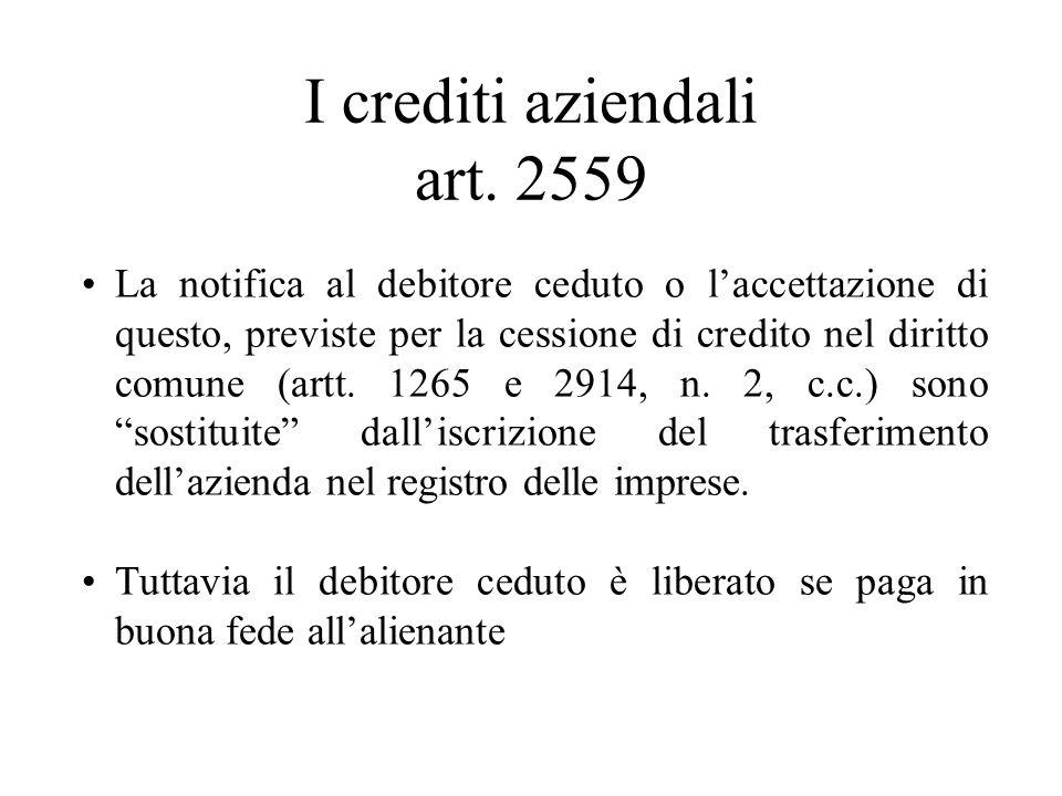 I crediti aziendali art. 2559 La notifica al debitore ceduto o laccettazione di questo, previste per la cessione di credito nel diritto comune (artt.