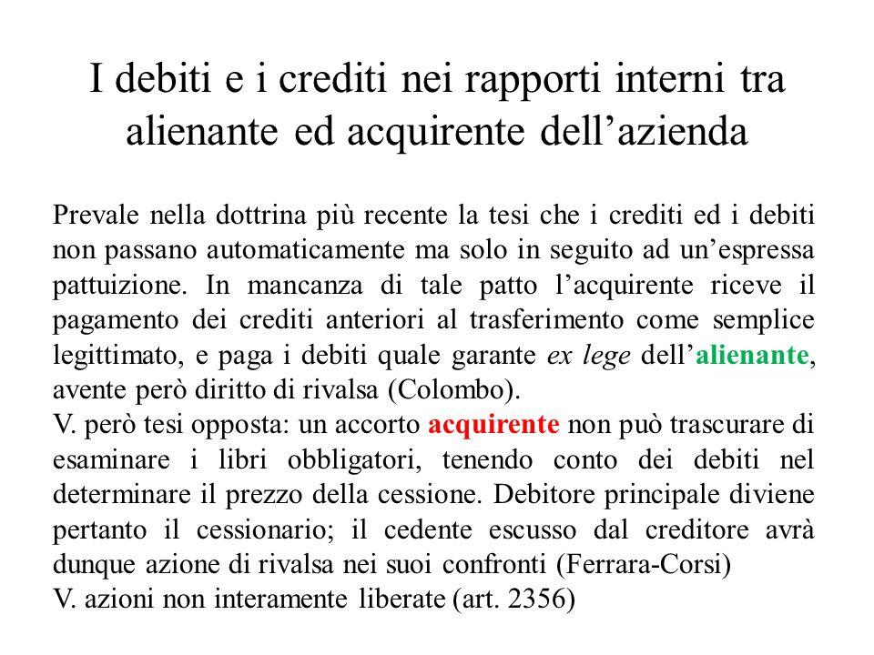 I debiti e i crediti nei rapporti interni tra alienante ed acquirente dellazienda Prevale nella dottrina più recente la tesi che i crediti ed i debiti