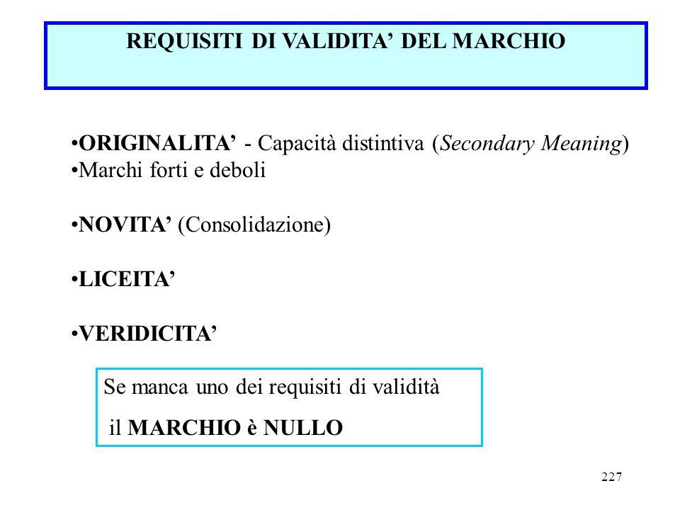 227 REQUISITI DI VALIDITA DEL MARCHIO ORIGINALITA - Capacità distintiva (Secondary Meaning) Marchi forti e deboli NOVITA (Consolidazione) LICEITA VERI